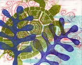 Items Similar To Seaweed Turtle Original Woodcut Print
