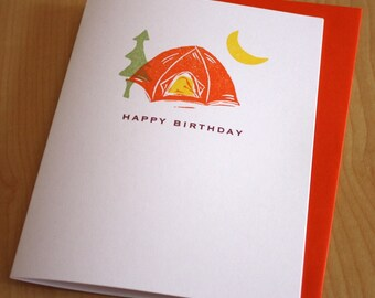 Tent - Camping - Happy Birthday - Handmade Birthday Card