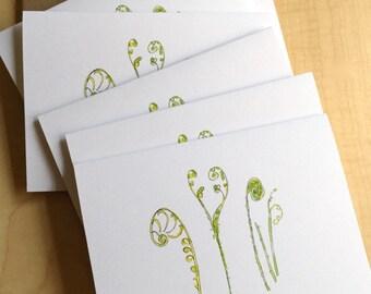Watercolor Blank Note Cards - Fiddlehead Fern Cards - Fern Note Cards - Botanical Note Cards - Set of 6