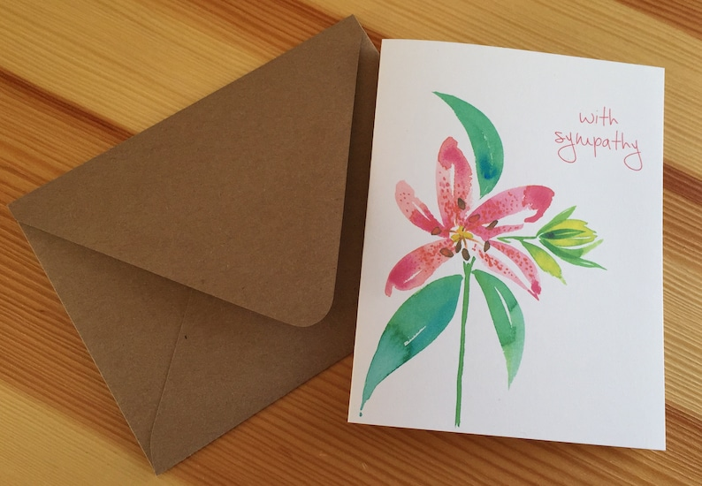 Botanical Sympathy Card Floral Lily Sympathy Note Card Watercolor Stargazer Lily With Sympathy Card