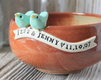 Handmade Custom Love Bird Anniversary Bowl - Made-To-Order - 4 to 6 Weeks for Delivery - Wedding Gift - Anniversary Gift