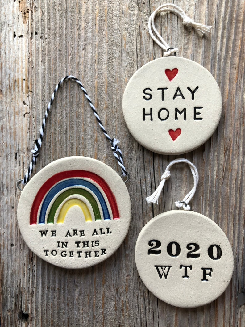 Handmade Pottery Stay Home Wall Plaque or Ornament Mothers Day Gift Free Domestic Shipping 1-2 weeks for delivery Mother/'s Day