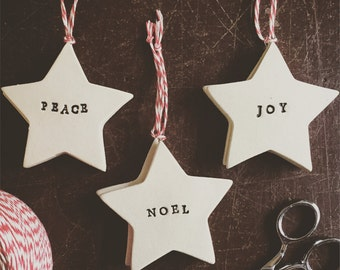 Star Sentiment Pottery Ornament - 2-3 weeks for delivery