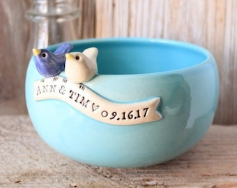 Handmade Personalized Love Bird Wedding Bowl - Made-To-Order - 4 to 6 Weeks for Delivery - Wedding Gift - Anniversary Gift - Christmas Gift
