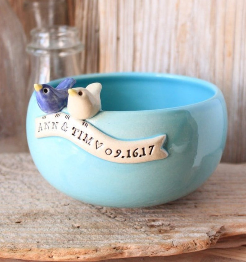 Handmade Personalized Love Bird Wedding Bowl  Made-To-Order  image 0