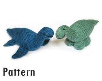 PDF Pattern - Nikodemus Plesiosaur and Angelica Apatosaurus - Knitting