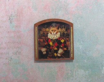 Dollhouse Miniature Venice Carnivale Cat Art Panel