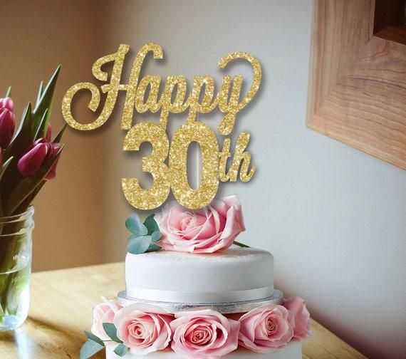 30th BIRTHDAY GLITTER CAKE TOPPER,GLITTER CARD CUSTOM NAME 21st 30TH,40TH,50TH