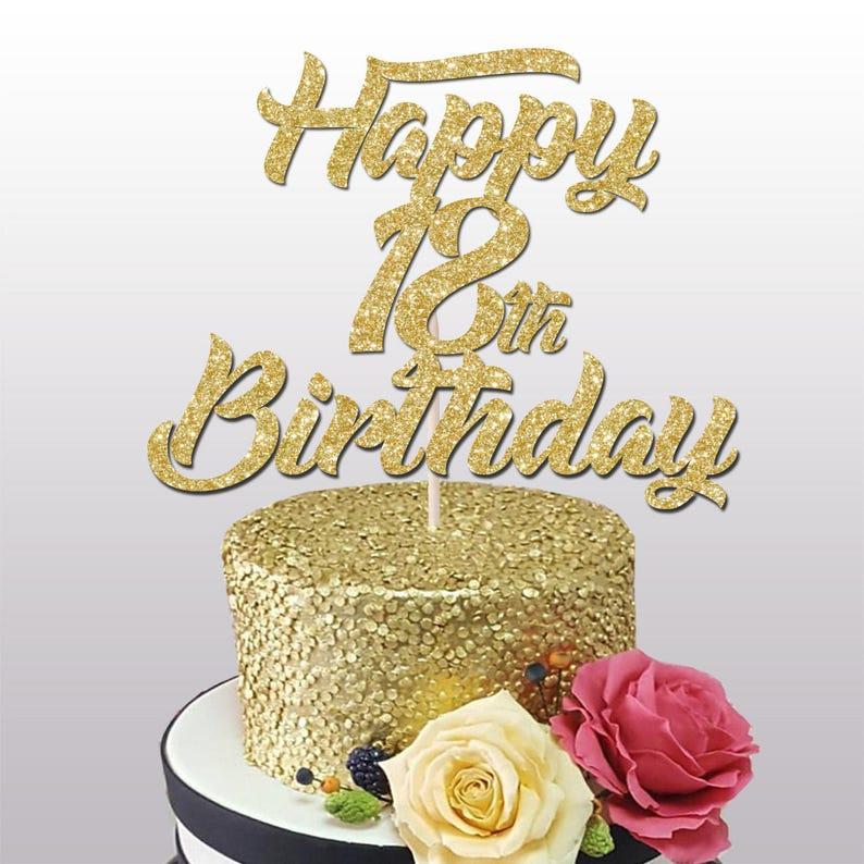 Happy 18th Birthday Glitter Cake Topper