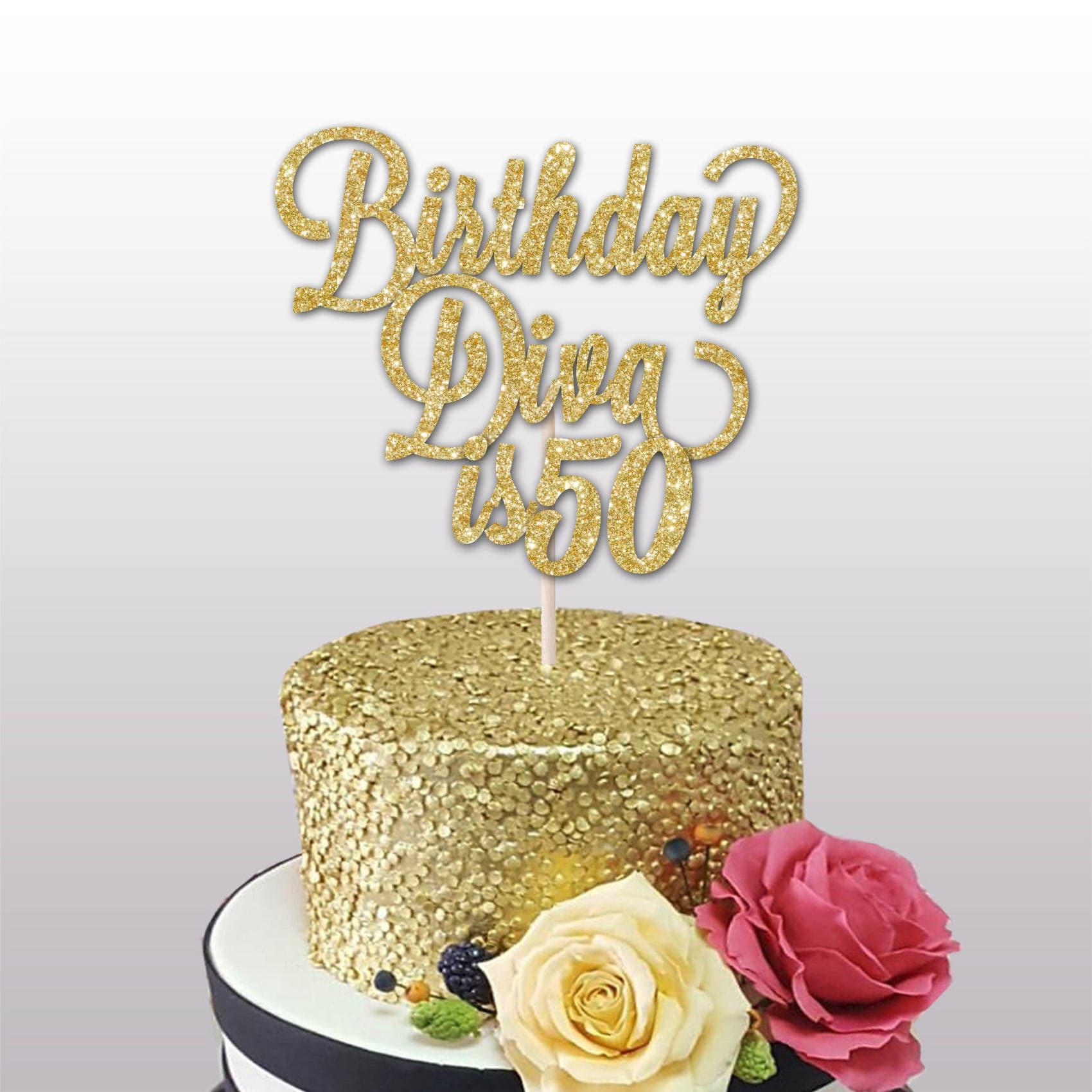 50th Birthday glitter cake topper Birthday Diva is 50 40th   Etsy
