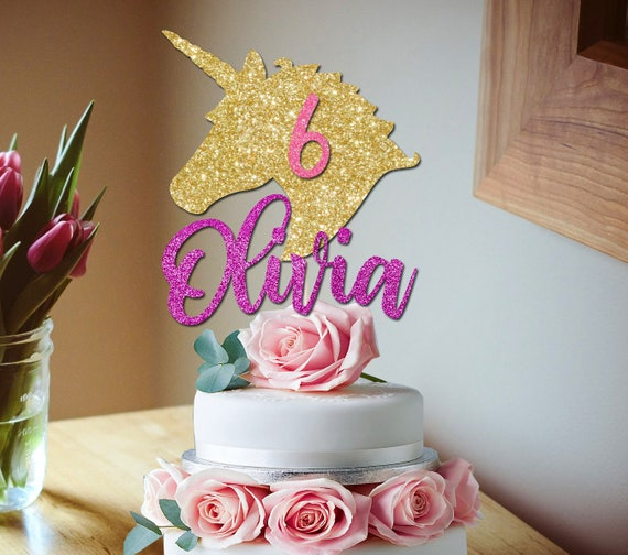 Unicorn Glitter Cake Topper Unicorn Birthday Unicorn Party
