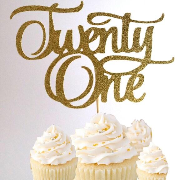 Number 21 Gold Glitter Birthday Cake Topper 21st