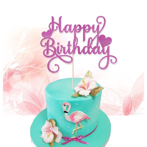 Fine Happy Birthday Pink Glitter Cake Topper Birthday Cake Etsy Personalised Birthday Cards Epsylily Jamesorg