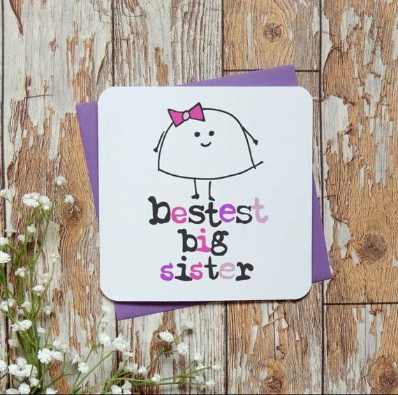 Meilleure Grande Soeur Anniversaire Carte De Vœux Sœur Drôle Nouvelle Soeur La Carte Carte Carte De New Baby Vendeur De Royaume Uni Parsy Carte
