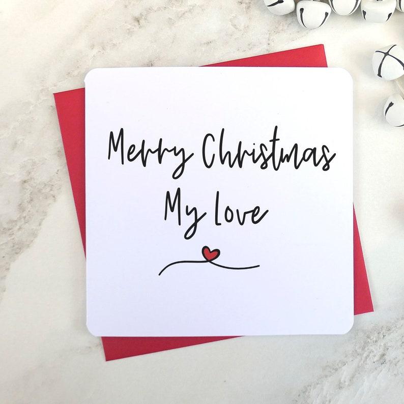Husband Christmas Cards Uk.Merry Christmas My Love Husband Card Wife Card Fiancee Card Fiance Card Love Christmas Card Script Card Husband To Be Card Uk Seller