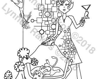 MCM instant download Coloring Page, colouring sheet printable coloring, print and color diy printable downloadable, Gift for Her