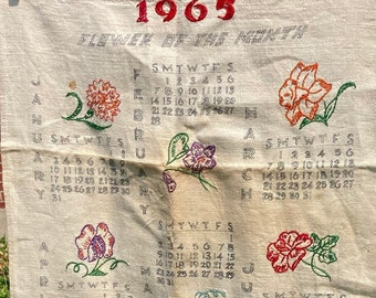 Embroidered Flowers of the Month * Unfinished * 1965 * Vintage Calendar Tea Towel