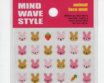MIND WAVE Animal Face Mini Sticker Set: Bunnies