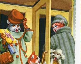 Mainzer Cats * Revolving Door Trouble * 4737 * Alfred Mainzer * Eugen Hartung * Unused * Vintage Postcard * Deckle Edge