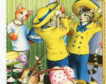Mainzer Cats * Hat Shop * Milliners * 4740 * Alfred Mainzer * Eugen Hartung * Unused * Vintage Postcard * Deckle Edge