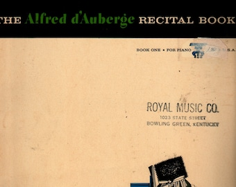 Alfred D'Auberge Recital Book One For Piano + 1965 + Vintage Music Book