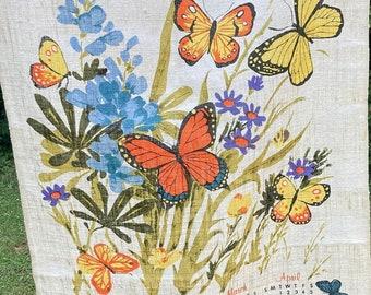 Butterflies * Flowers * 1980 * Vintage Calendar Tea Towel