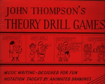 John Thompson's Theory Drill Games Book One + G. and D. Hauman + 1956 + Vintage Music Book