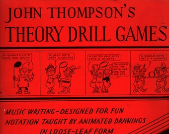 John Thompson's Theory Drill Games Book One + 1956 + Vintage Music Book