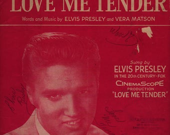 Love Me Tender + Elvis Presley and Vera Matson + 1956 + Vintage Sheet Music
