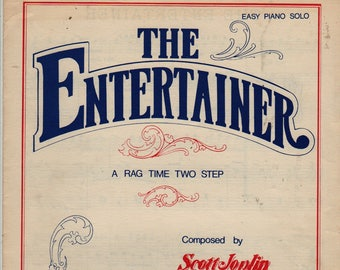 The Entertainer Ragtime Two Step Easy Piano Solo + Scott Joplin + 1974 + Vintage Sheet Music