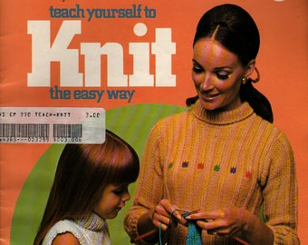 Teach Yourself to Knit The Easy Way Columbia Minerva Book 770 + 1968 + Vintage Craft Book