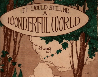 It Would Still Be a Wonderful World Song * Harley Rosso * Story by Hal Blake Cowler * The McClure Music Co. * 1920 * Vintage Sheet Music