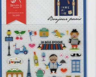 Sonia J Design * Bonjour Paris * Eiffel Tower * Arc de Triomphe * Macarons * Sticker Set * Japanese Stationery