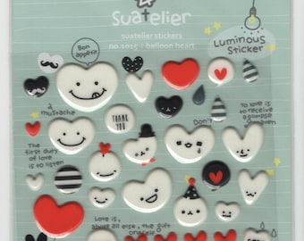 Suatelier * Collection Balloon Heart * Puffy * Sticker Set * Japanese Stationery