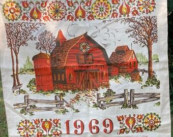 Pennsylvania Dutch * Red Barn * Bless This Land * 1969 * Vintage Calendar Tea Towel