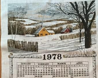 Farm House * Snowy Day * 1978 * Vintage Calendar Tea Towel