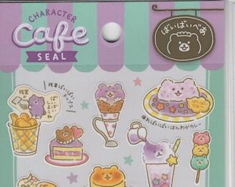 Mind Wave * Character Cafe * Purple Bear * Food  * Japanese Sticker Set