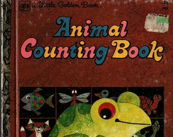 Animal Counting Book + Little Golden Book + Moritz Kennel + Golden Press + 1975 + Vintage Kids Book