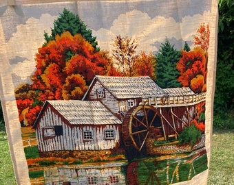 Watermill * Autumn Scene * In the Woods * 1977 * Vintage Calendar Tea Towel