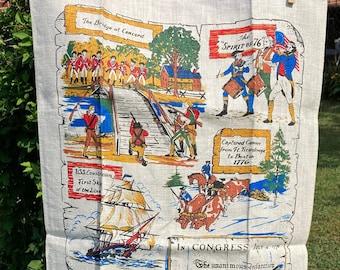 American Independence * Spirit of 76 * George Washington * Concord * Vintage Souvenir Tea Towel