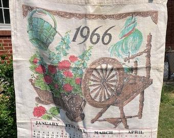 Spinning Wheel * Red Flowers in a Planter * 1966 * Vintage Calendar Tea Towel