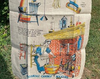 Colonial Candle Making * Vintage Souvenir Tea Towel