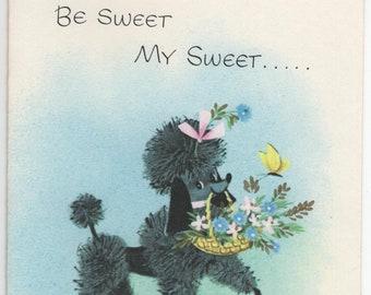 Get Well Card * Black Poodle with Flowers * Be Sweet * Pert N Pretty Series * Unused * Vintage