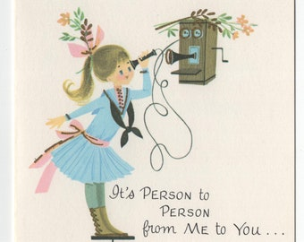 Get Well Card * Girl On Phone * Person to Person * Pert N Pretty Series * Unused * Vintage