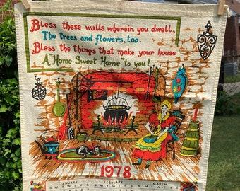 Home Sweet Home * Woman * Cat * Hearth * Pennsylvania Dutch * 1978 * Vintage Calendar Tea Towel