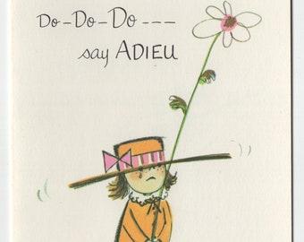Get Well Card * Girl With Flower * Adieu * Pert N Pretty Series * Unused * Vintage