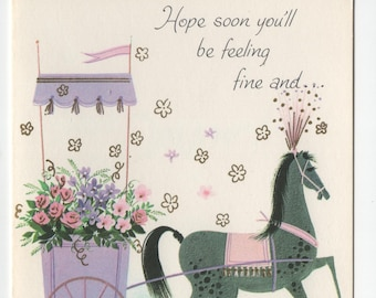 Get Well Card * Horse with Carriage * Pink and Purple Flowers * Fine and Dandy * Pert N Pretty Series * Unused * Vintage