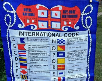 Royal National Life Boat Institution * Code Flag and Answering Pennant * International Code * Vintage Souvenir Tea Towel