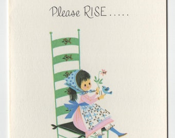 Get Well Card * Girl on Chair with Blue Bird * Rise and Shine * Pert N Pretty Series * Unused * Vintage