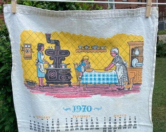Three Generations In the Kitchen * Family * Cooking * Wood Burning Stove * Citizens Bank * 1970 * Vintage Calendar Tea Towel